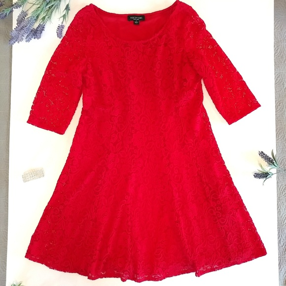 Perceptions Dresses & Skirts - Perceptions New York Red Lace Dress Size 14 Plus